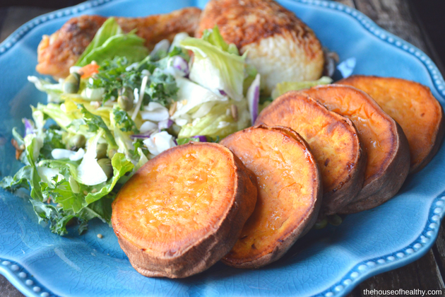 Buttery Cinnamon+Sugar Roasted Sweet Potatoes