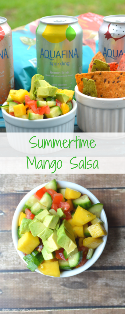 Summer is (pretty much) officially here! It's time to head outside, soak up some sun, and enjoy being outdoors. I like to snack on a cooling, juicy salsa, made with mangoes, and sip on Aquafina Sparkling Water. It's the best way to fuel up, eat well and stay cool on those hot summer days. Check out the salsa recipe and then head over to your favorite Target store to grab 25% off on Aquafina Sparkling Water, using your Cartwheel by Target app now thru 6/17. http://thehouseofhealthy.com/2017/05/30/simple-summertime-mango-salsa/ #simplyhealthy #aquafinasparkling #ad #target #summertime #cooldown #staycool #mangosalsa #healthcoach #IINhealthcoach #IINphoto #simplysummertime #poolsidesnacks #sparlingwater #cartwheel #glutenfree #vegan #vegetarian